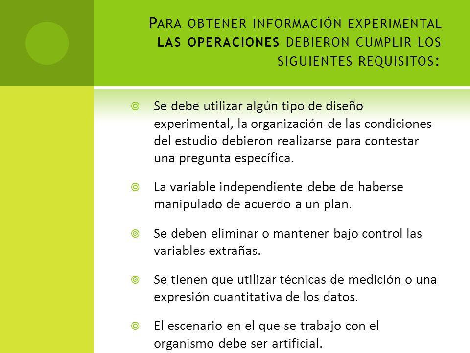P ARA OBTENER INFORMACIÓN EXPERIMENTAL LAS OPERACIONES DEBIERON CUMPLIR LOS SIGUIENTES REQUISITOS : Se debe utilizar algún tipo de diseño experimental