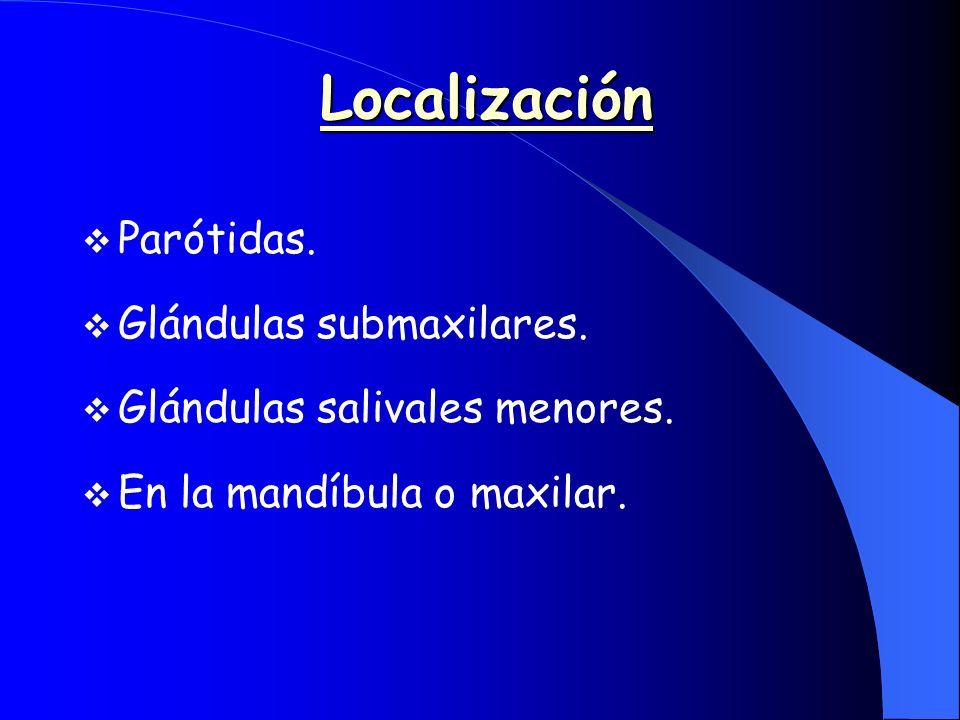 Localización Parótidas. Glándulas submaxilares. Glándulas salivales menores. En la mandíbula o maxilar.