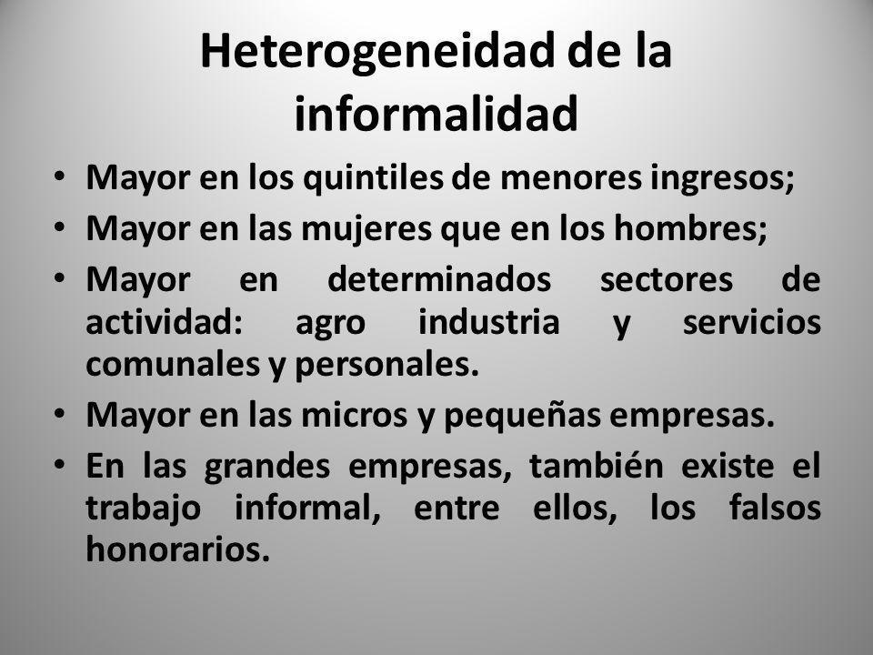Heterogeneidad de la informalidad Mayor en los quintiles de menores ingresos; Mayor en las mujeres que en los hombres; Mayor en determinados sectores de actividad: agro industria y servicios comunales y personales.