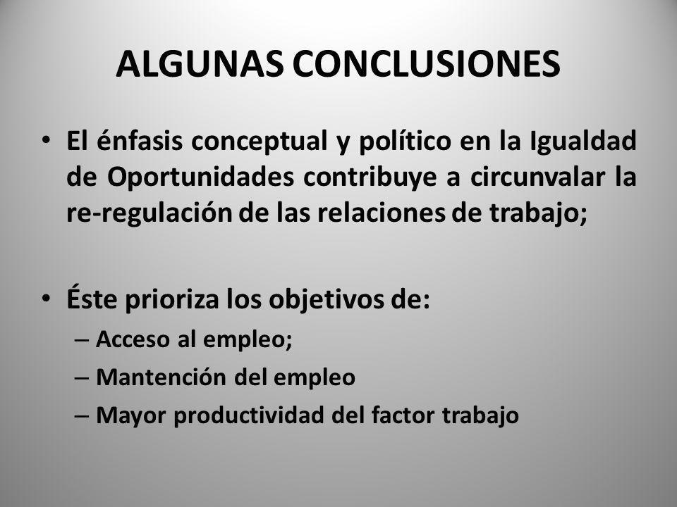 ALGUNAS CONCLUSIONES El énfasis conceptual y político en la Igualdad de Oportunidades contribuye a circunvalar la re-regulación de las relaciones de trabajo; Éste prioriza los objetivos de: – Acceso al empleo; – Mantención del empleo – Mayor productividad del factor trabajo