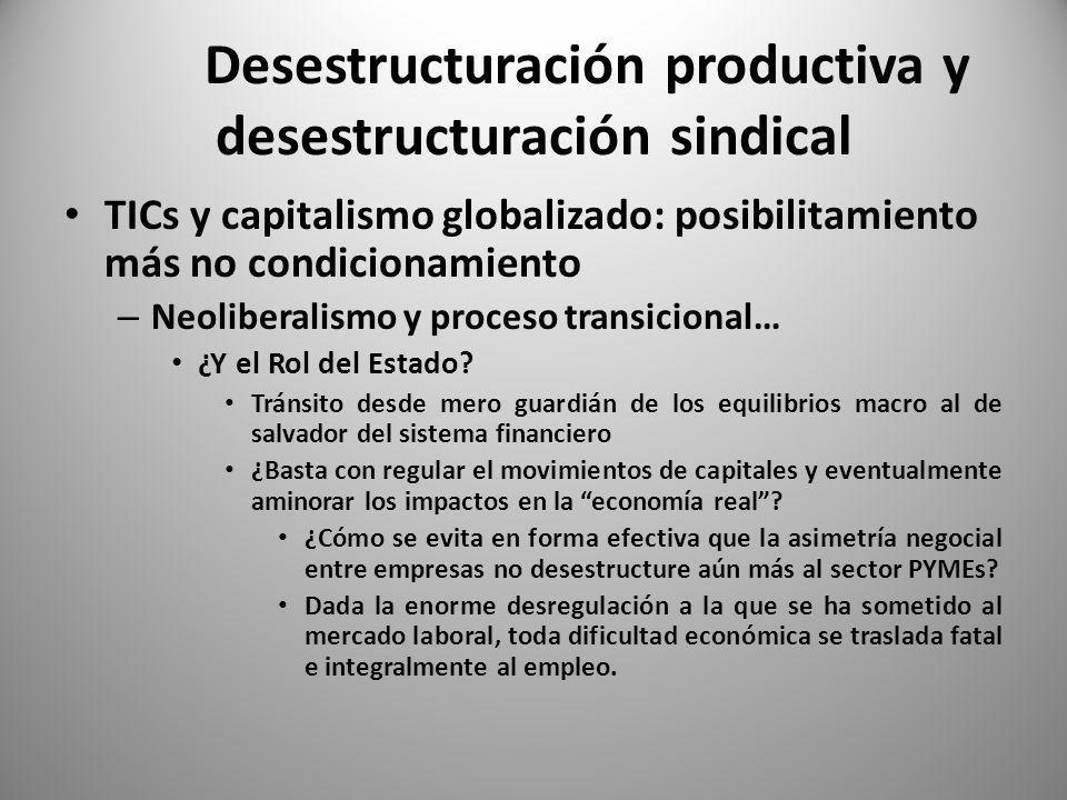 Desestructuración productiva y desestructuración sindical TICs y capitalismo globalizado: posibilitamiento más no condicionamiento – Neoliberalismo y proceso transicional… ¿ Que problemáticas y que dilemas se plantean para el mundo sindical.