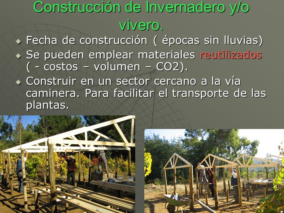 Construcción de Invernadero y/o vivero. Fecha de construcción ( épocas sin lluvias) Fecha de construcción ( épocas sin lluvias) Se pueden emplear mate