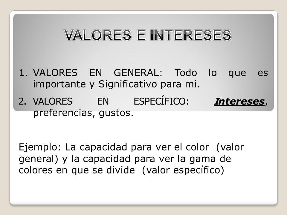 Los valores configuran los intereses y los intereses conforman las rutas profesionales.