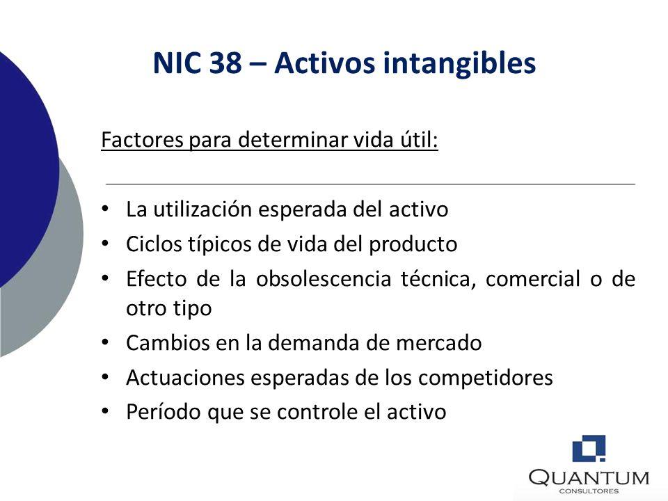 NIC 38 – Activos intangibles Vida indefinida: La entidad considerará que un activo intangible tiene una vida útil indefinida cuando, sobre la base de