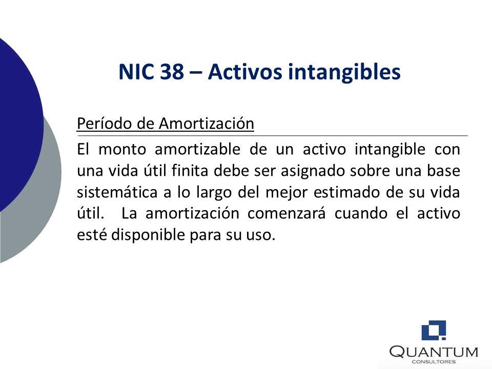 NIC 38 – Activos intangibles Factores para determinar vida útil: La utilización esperada del activo Ciclos típicos de vida del producto Efecto de la o