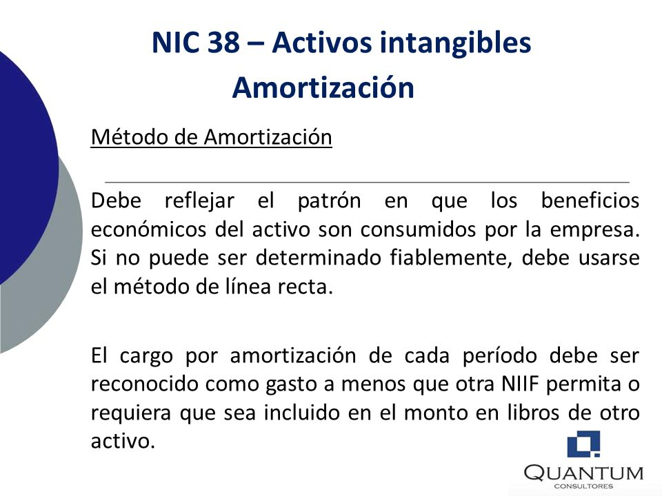 NIC 38 – Activos intangibles Período de Amortización El monto amortizable de un activo intangible con una vida útil finita debe ser asignado sobre una