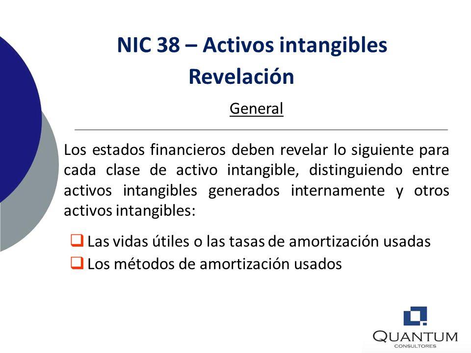 NIC 38 – Activos intangibles Activos con vidas útiles indefinidas: No se amortizan Se evalúa cada año si es que han sufrido un deterioro (NIC 36) y cu