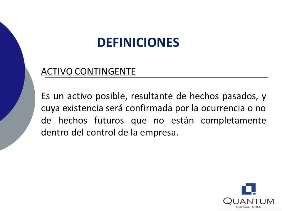 b)una obligación actual resultante de hechos pasados, a la cual no se le da reconocimiento porque no es probable que se requiera salida de recursos qu