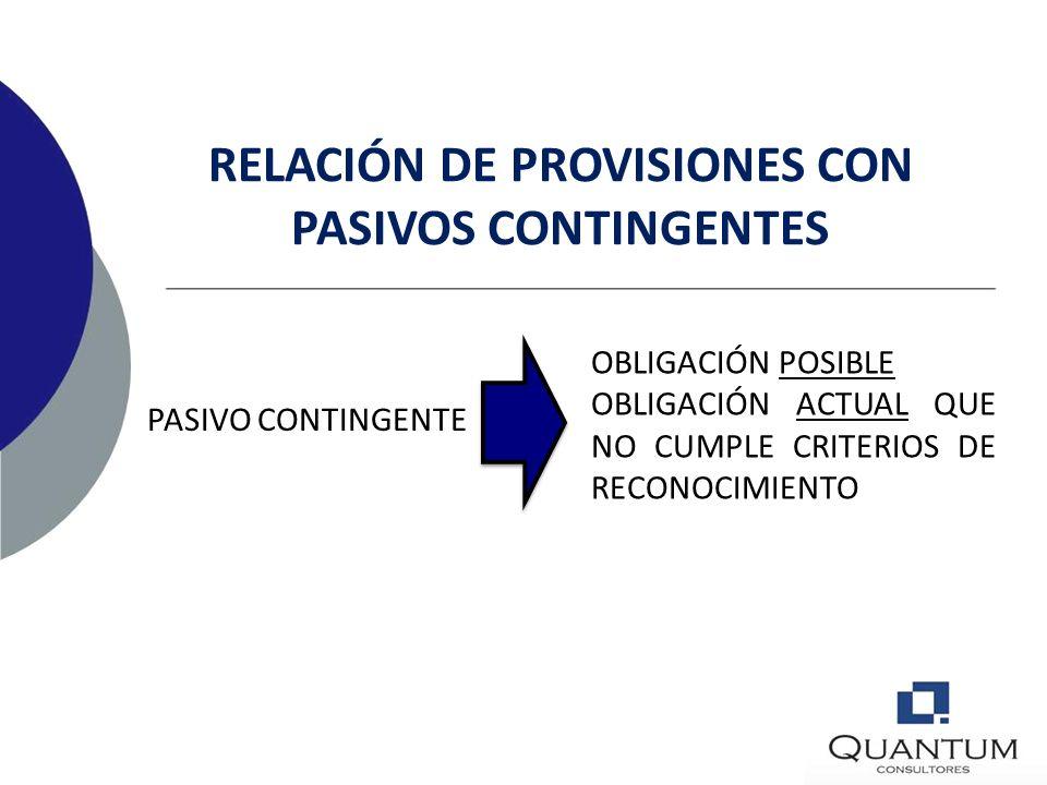 PROVISIÓN OBLIGACIÓN ACTUAL PROBABILIDAD DE SALIDA DE FLUJOS DE BENEFICIOS ECONÓMICOS RELACIÓN DE PROVISIONES CON PASIVOS CONTINGENTES