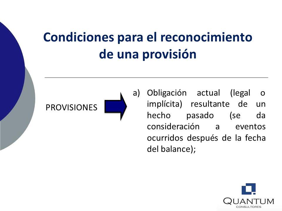 ESTIMACIÓN CONFIABLE DE LA OBLIGACIÓN Las estimaciones no debilitan la confiabilidad de los estados financieros. Pueden determinarse una gama de posib