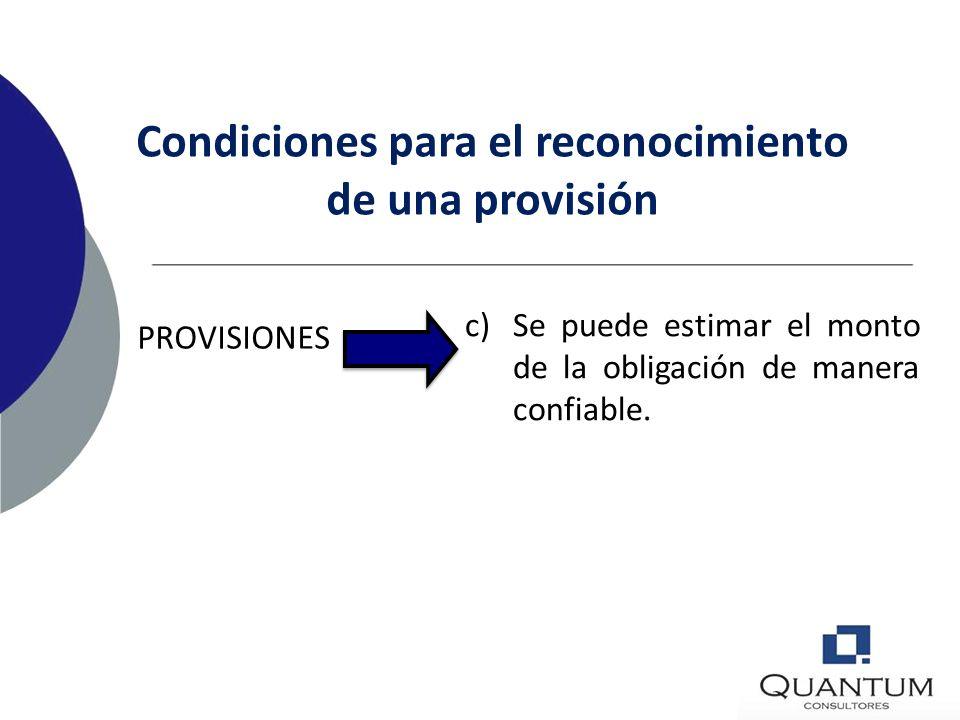 PROVISIONES b)Más probable que improbable que la empresa tenga que requerir de flujos de salidas de recursos que involucran beneficios económicos, par