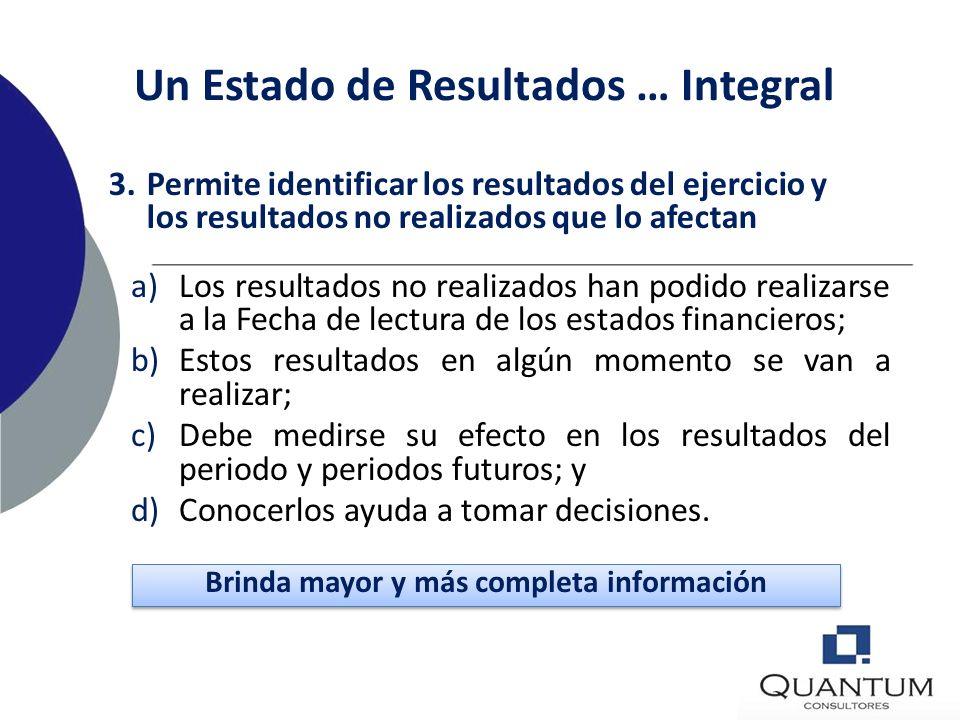 Un Estado de Resultados … Integral a)Incluirlo en el Estado de resultados. Distorsiona la lectura; el lector fija su atención en la última línea del e