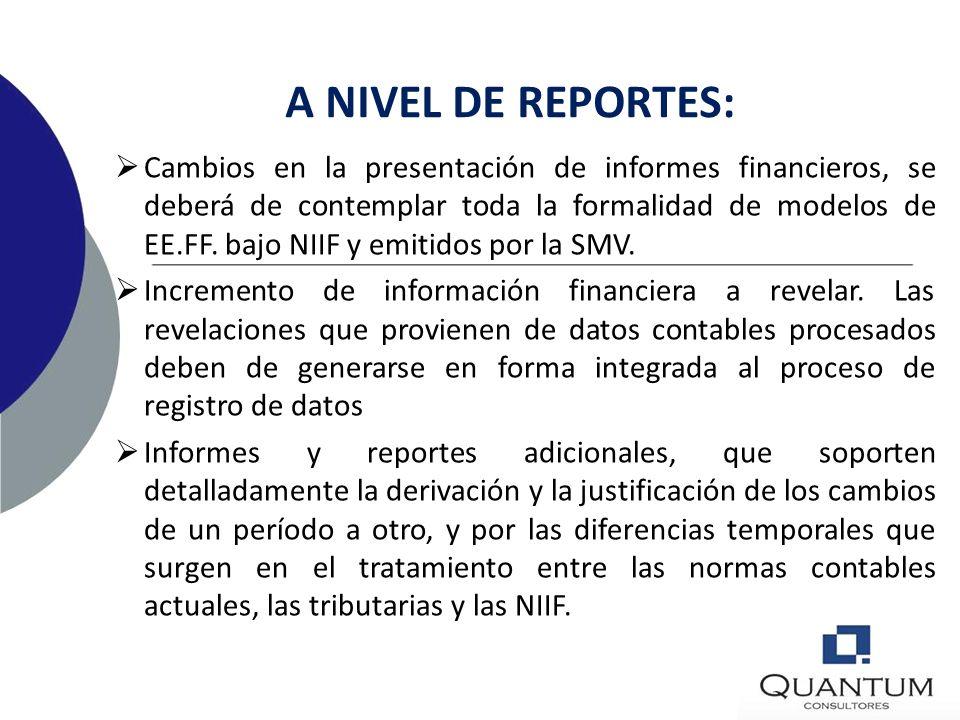 IMPACTO EN T.I. A NIVEL DE APLICACIONES Revisión del PCGE para presentar informes multi- propósitos. Herramientas de medición y estimación de partidas