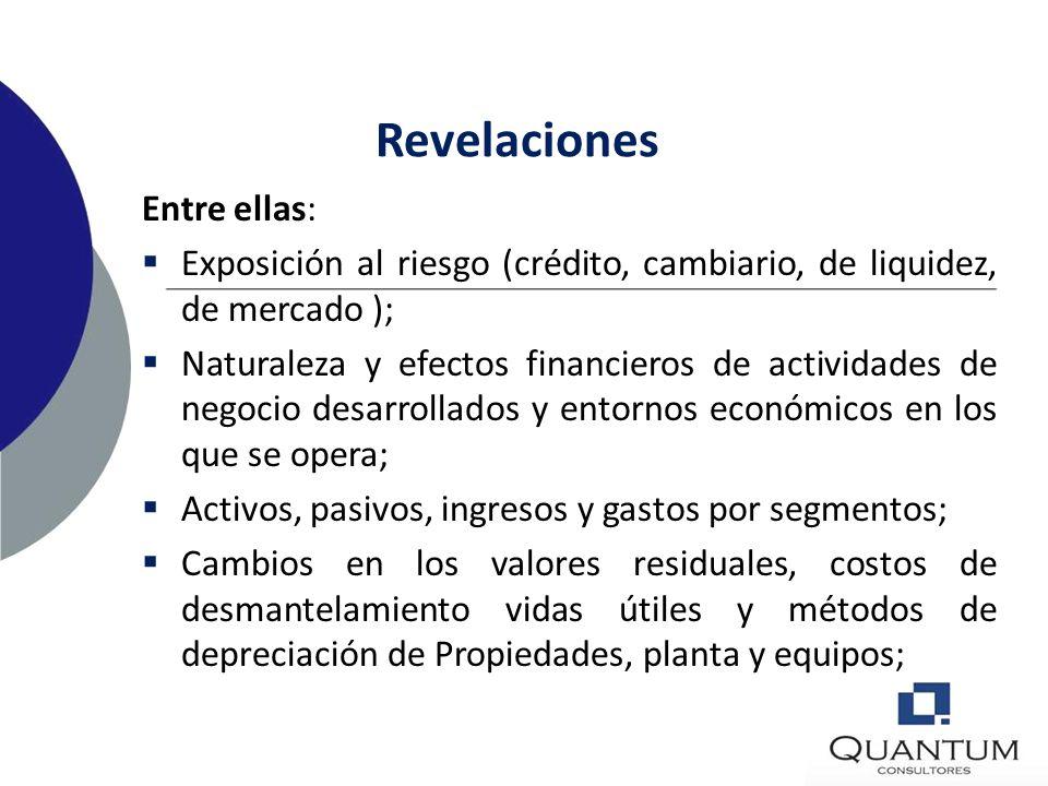 Revelaciones Entre ellas: Operaciones discontinuadas (ingresos, gastos y resultados antes de impuestos) Activos no corrientes mantenidos para la venta