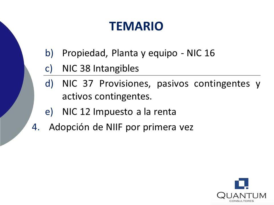 TEMARIO 1.Presentación de Estados financieros. Estado de situación financiera, estado de cambios en el patrimonio neto, y, estado de resultados integr