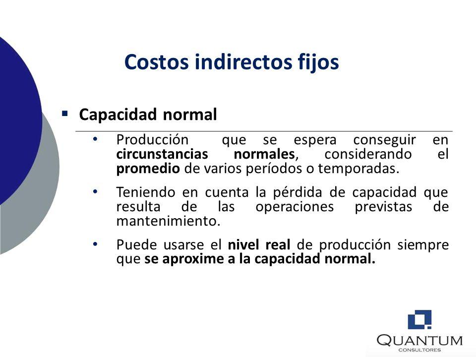 Costos indirectos Fijos: Permanecen relativamente constantes con independencia del volumen de producción ej., amortización y mantenimiento de edificio