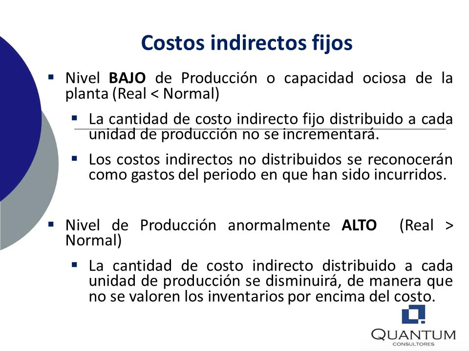 Costos indirectos fijos Capacidad normal Producción que se espera conseguir en circunstancias normales, considerando el promedio de varios períodos o