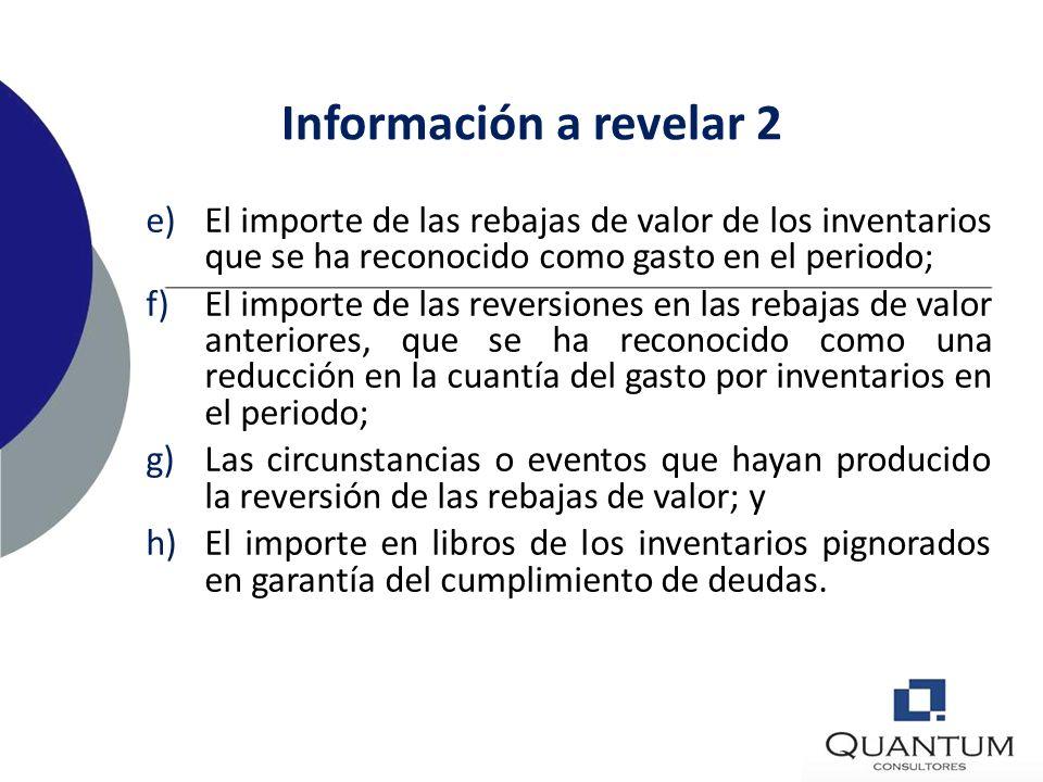 Información a revelar 1 a)Las políticas contables adoptadas para medición, incluyendo la fórmula de medición de los costos que se hayan utilizado; b)E