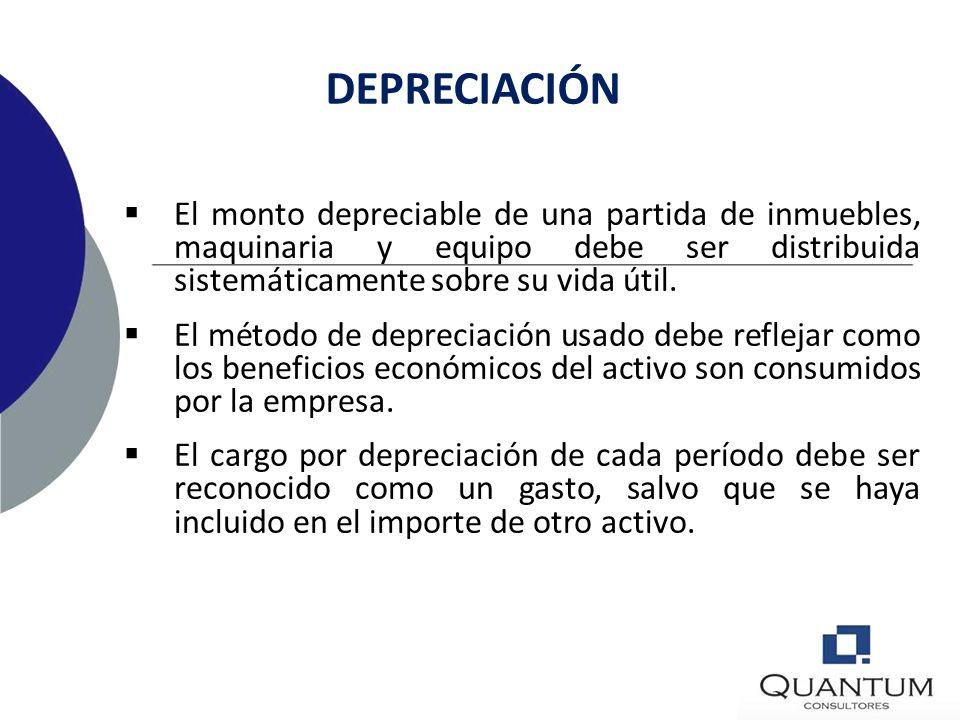 INICIO Y TERMINO DE LA DEPRECIACIÓN Disponible para su uso Depreciado totalmente Clasificado como mantenido para la venta No cesa aun cuando el activo
