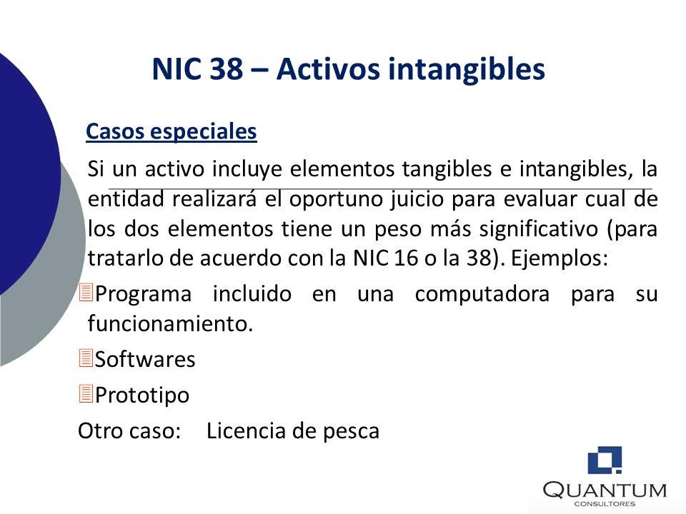 NIC 38 – Activos intangibles Definiciones Investigación: es una investigación original y planeada emprendida con la expectativa de obtener nuevo conoc