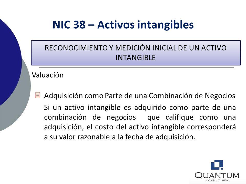NIC 38 – Activos intangibles Valuación 3Un activo intangible debe ser valuado inicialmente al costo. 3Adquisición por Separado Si un activo intangible