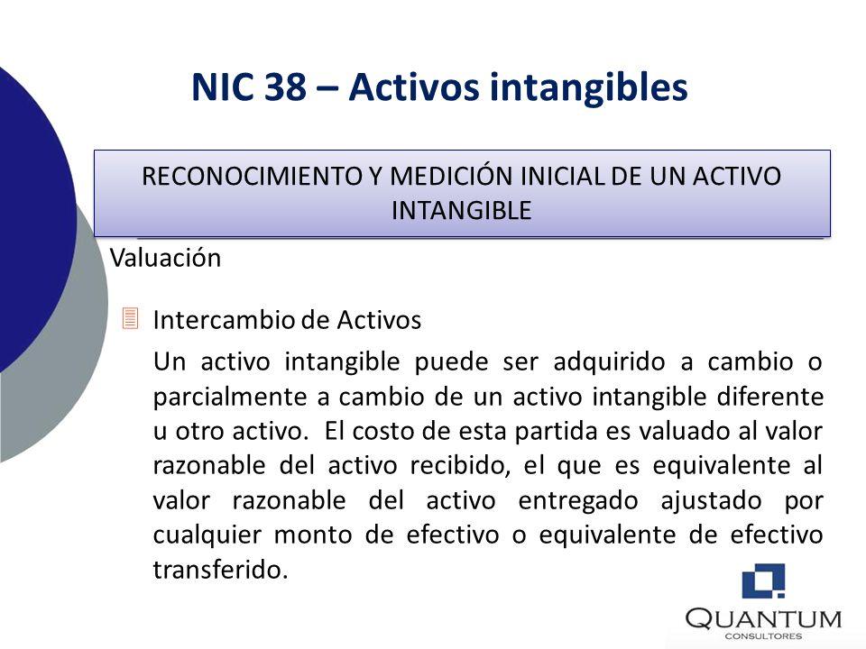NIC 38 – Activos intangibles Adquisición como Parte de una Combinación de Negocios Un activo intangible adquirido en una combinación de negocios podrí