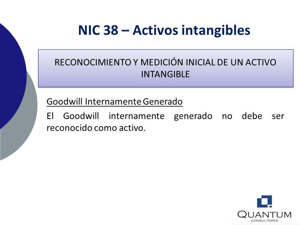 NIC 38 – Activos intangibles Valuación 3Intercambio de Activos Un activo intangible puede ser adquirido a cambio o parcialmente a cambio de un activo