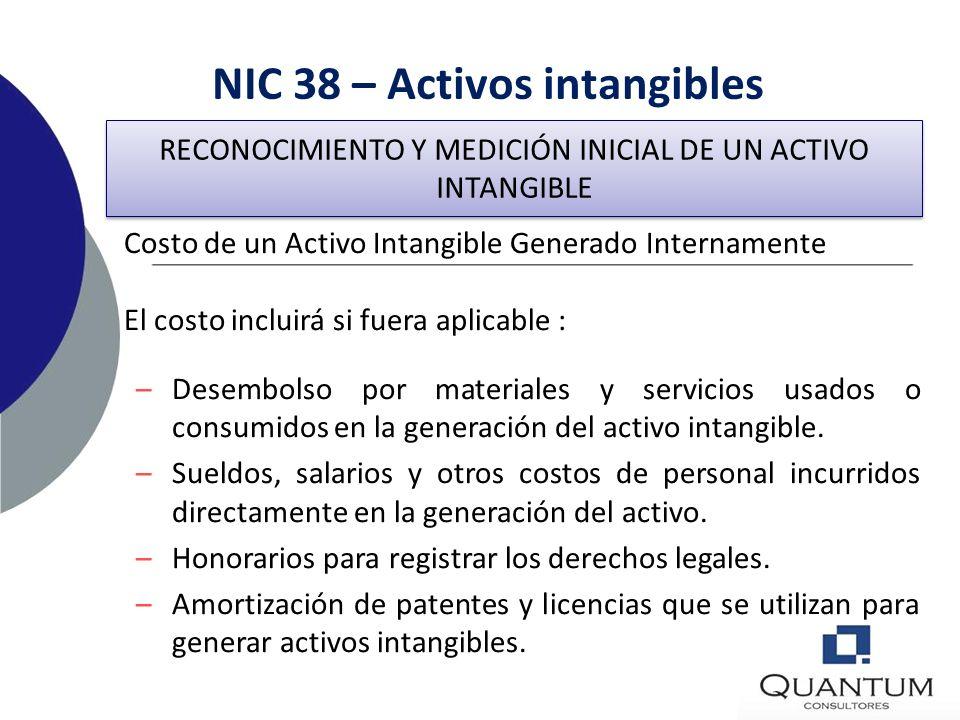 NIC 38 – Activos intangibles Fase de Desarrollo – Premisas obligatorias: La disponibilidad de recursos técnicos, financieros y otros que permitan comp