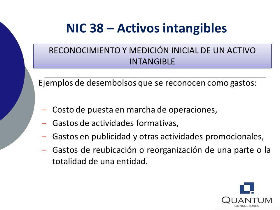 NIC 38 – Activos intangibles Costo de un Activo Intangible Generado Internamente El costo incluirá si fuera aplicable : –Desembolso por materiales y s