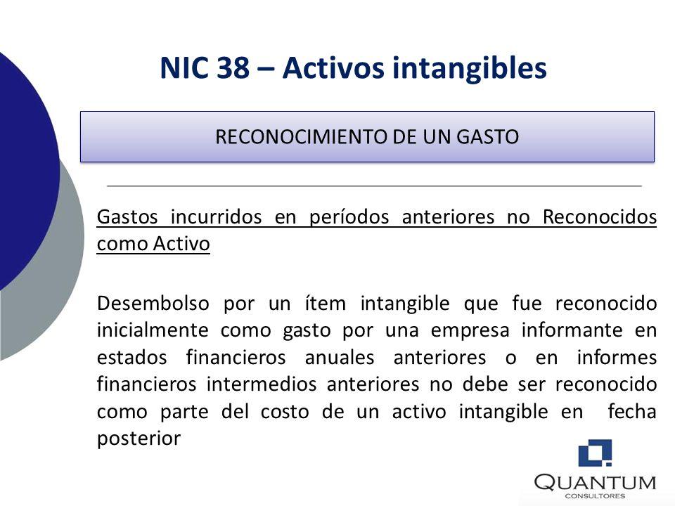 NIC 38 – Activos intangibles Ejemplos de desembolsos que se reconocen como gastos: –Costo de puesta en marcha de operaciones, –Gastos de actividades f