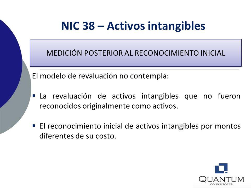 NIC 38 – Activos intangibles MEDICIÓN POSTERIOR AL RECONOCIMIENTO INICIAL La entidad elegirá como política contable entre el modelo del costo o el mod