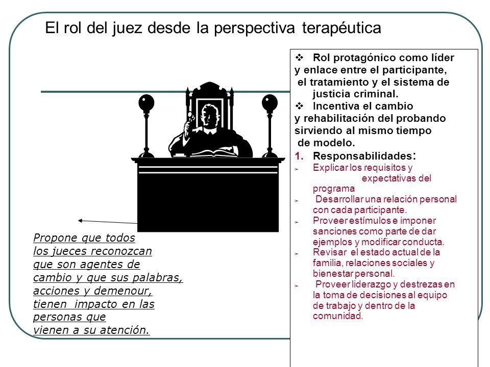 El rol del juez desde la perspectiva terapéutica Rol protagónico como líder y enlace entre el participante, el tratamiento y el sistema de justicia cr