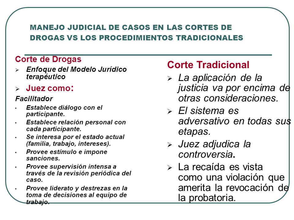MANEJO JUDICIAL DE CASOS EN LAS CORTES DE DROGAS VS LOS PROCEDIMIENTOS TRADICIONALES Corte de Drogas Enfoque del Modelo Jurídico terapéutico Juez como
