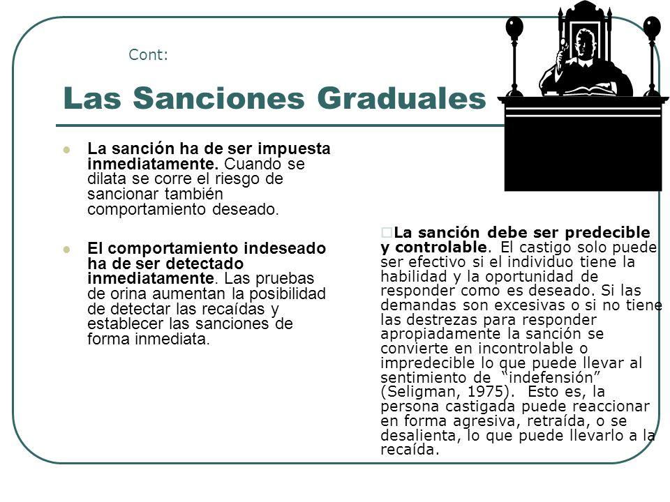 Las Sanciones Graduales La sanción ha de ser impuesta inmediatamente. Cuando se dilata se corre el riesgo de sancionar también comportamiento deseado.