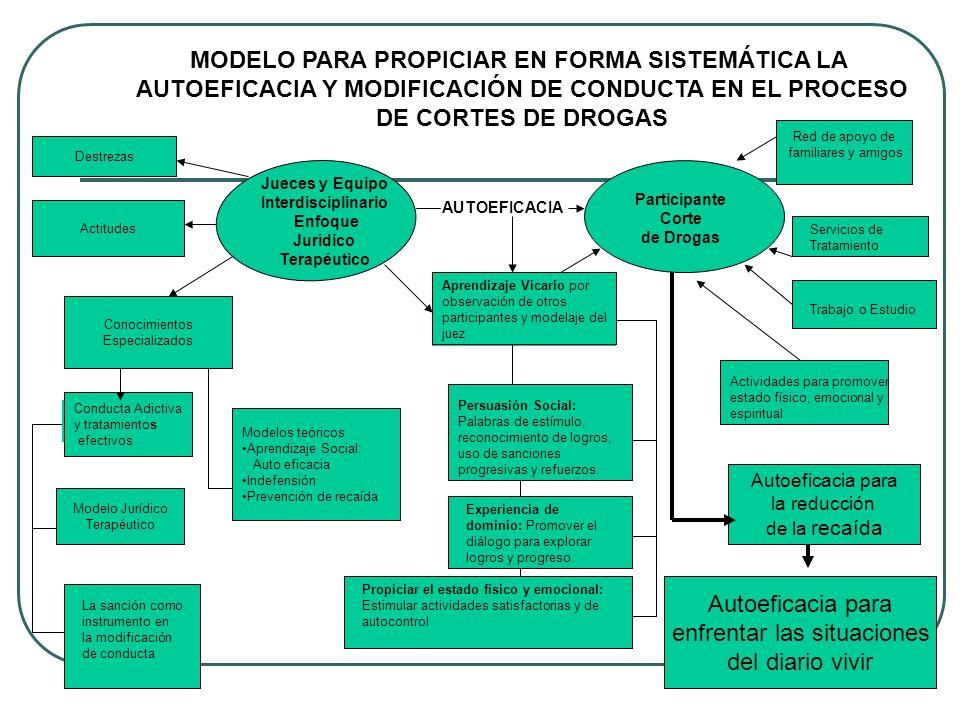 Jueces y Equipo Interdisciplinario Enfoque Jurídico Terapéutico Participante Corte de Drogas MODELO PARA PROPICIAR EN FORMA SISTEMÁTICA LA AUTOEFICACI