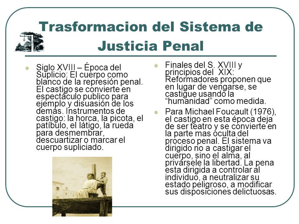 Trasformacion del Sistema de Justicia Penal Siglo XVIII – Época del Suplicio: El cuerpo como blanco de la represión penal. El castigo se convierte en
