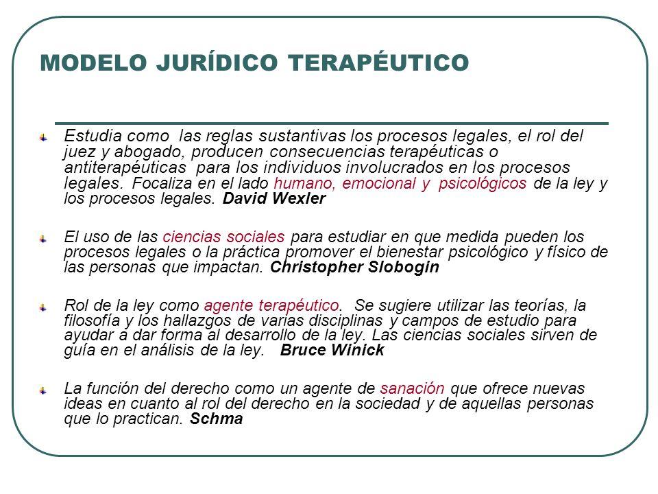 MODELO JURĺDICO TERAPÉUTICO Estudia como las reglas sustantivas los procesos legales, el rol del juez y abogado, producen consecuencias terapéuticas o