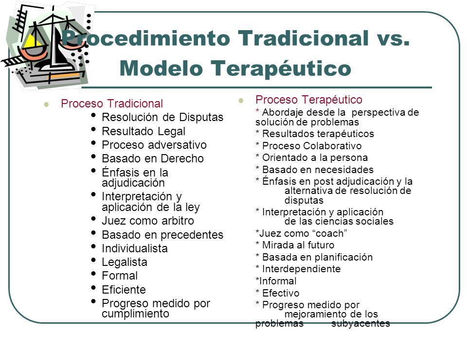 Procedimiento Tradicional vs. Modelo Terapéutico Proceso Tradicional Resolución de Disputas Resultado Legal Proceso adversativo Basado en Derecho Énfa