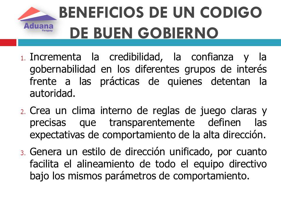 BENEFICIOS DE UN CODIGO DE BUEN GOBIERNO 1. Incrementa la credibilidad, la confianza y la gobernabilidad en los diferentes grupos de interés frente a