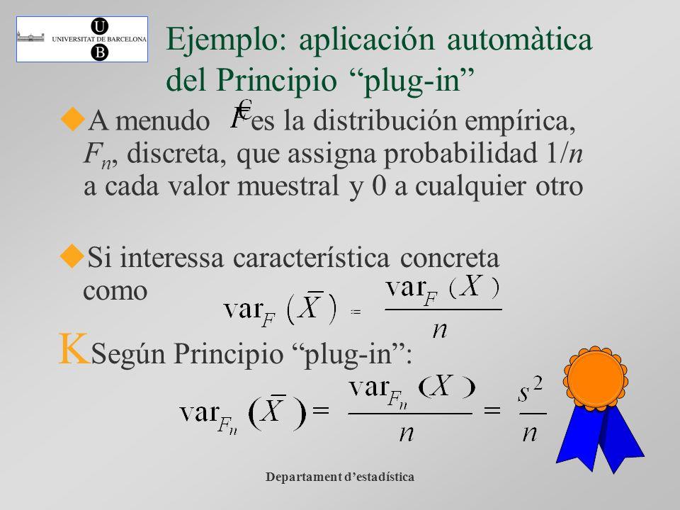 Departament destadística A menudo es la distribución empírica, F n, discreta, que assigna probabilidad 1/n a cada valor muestral y 0 a cualquier otro