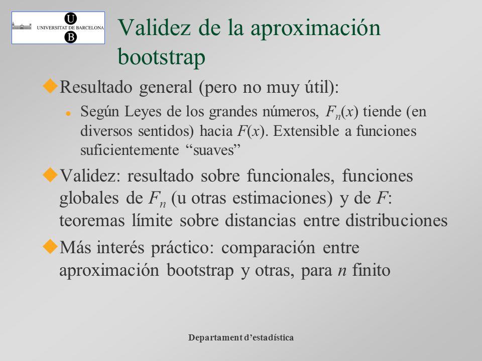 Departament destadística Validez de la aproximación bootstrap Resultado general (pero no muy útil): Según Leyes de los grandes números, F n (x) tiende