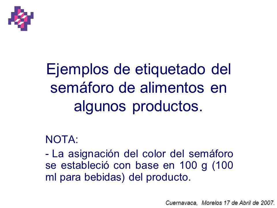 Ejemplos de etiquetado del semáforo de alimentos en algunos productos. NOTA: - La asignación del color del semáforo se estableció con base en 100 g (1