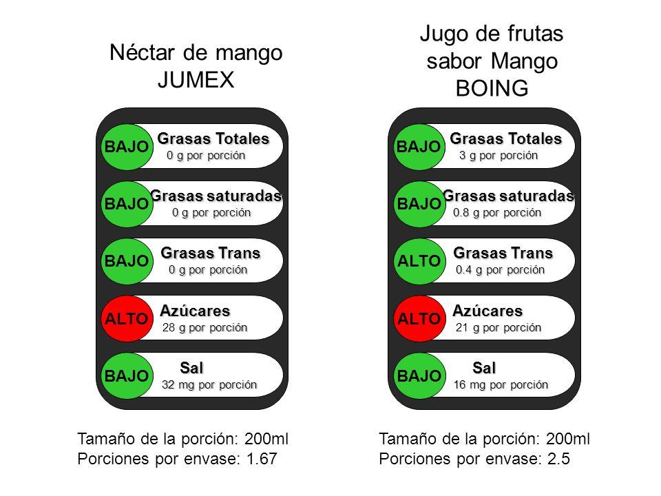 Néctar de mango JUMEX Jugo de frutas sabor Mango BOING Grasas Totales 0 g por porción Grasas saturadas 0 g por porción 0 g por porción Grasas Trans Gr