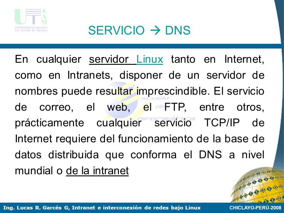 CHICLAYO-PERÚ-2008 Ing. Lucas R. Garcés G, Intranet e interconexión de redes bajo Linux SERVICIOS EN INTRANET LINUX