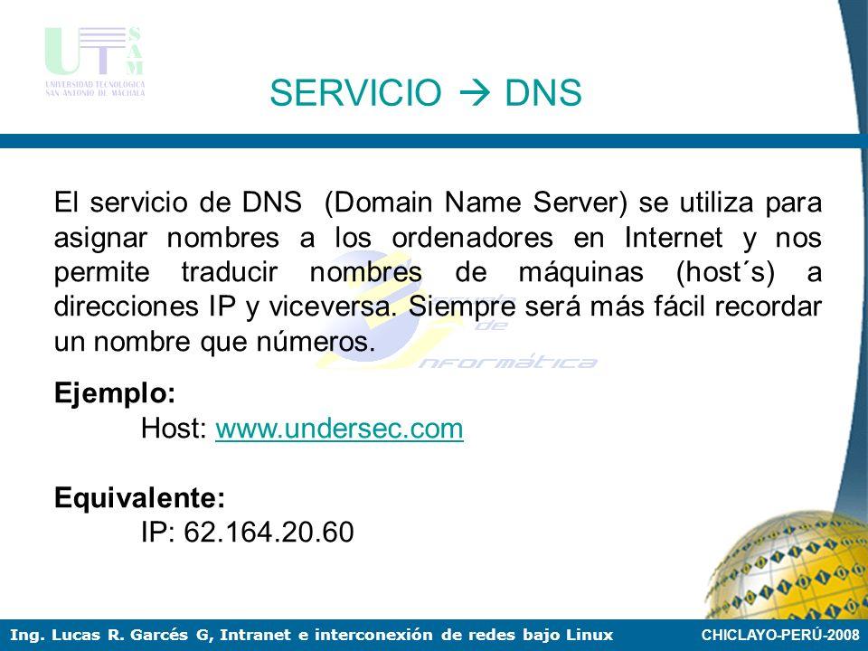 CHICLAYO-PERÚ-2008 Ing. Lucas R. Garcés G, Intranet e interconexión de redes bajo Linux SERVICIO DNS En cualquier servidor Linux tanto en Internet, co