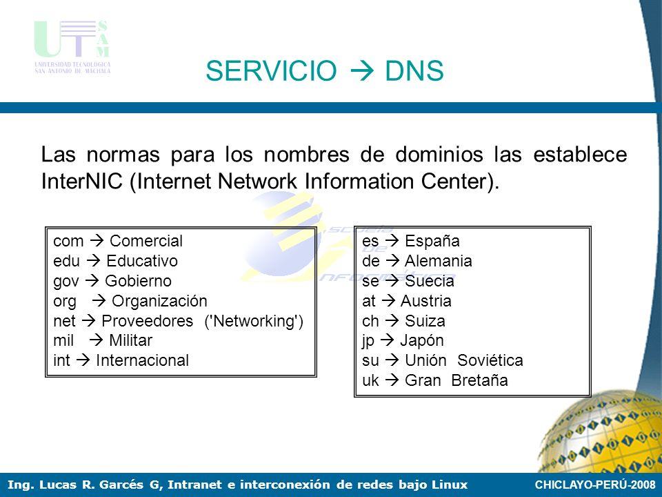 CHICLAYO-PERÚ-2008 Ing. Lucas R. Garcés G, Intranet e interconexión de redes bajo Linux SERVICIO DNS El servicio de DNS (Domain Name Server) se utiliz