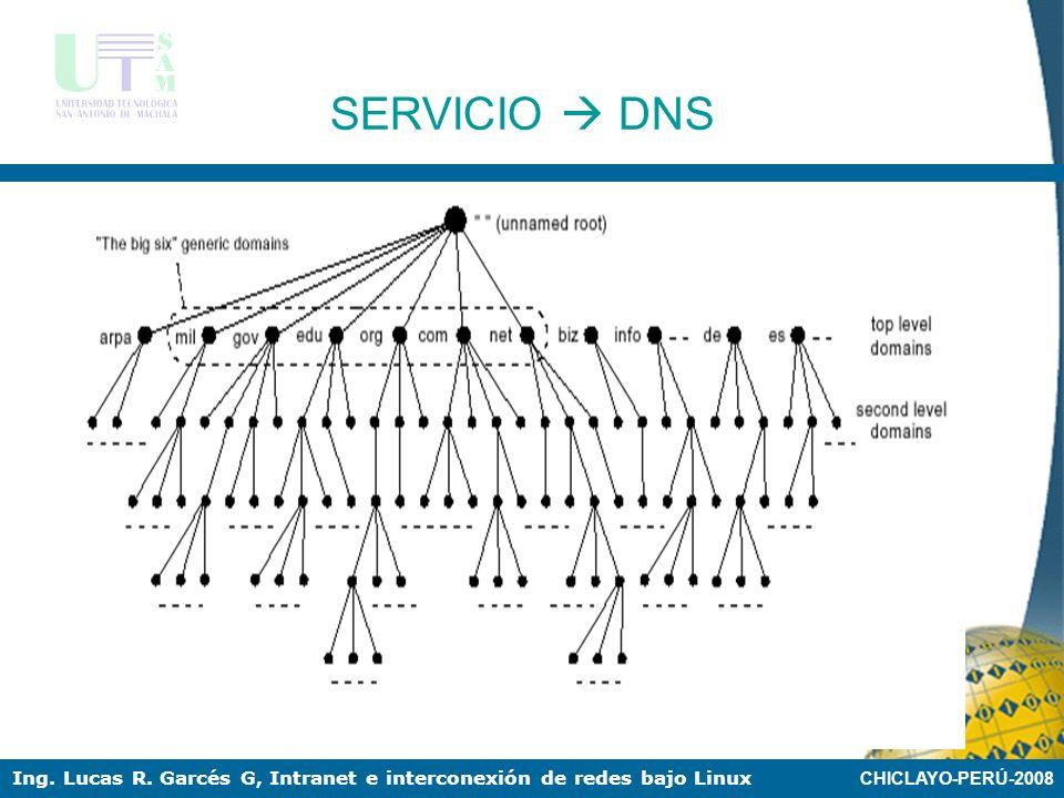CHICLAYO-PERÚ-2008 Ing. Lucas R. Garcés G, Intranet e interconexión de redes bajo Linux SERVICIO DNS Las normas para los nombres de dominios las estab