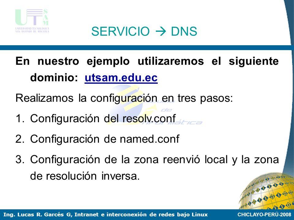 CHICLAYO-PERÚ-2008 Ing. Lucas R. Garcés G, Intranet e interconexión de redes bajo Linux SERVICIO DNS