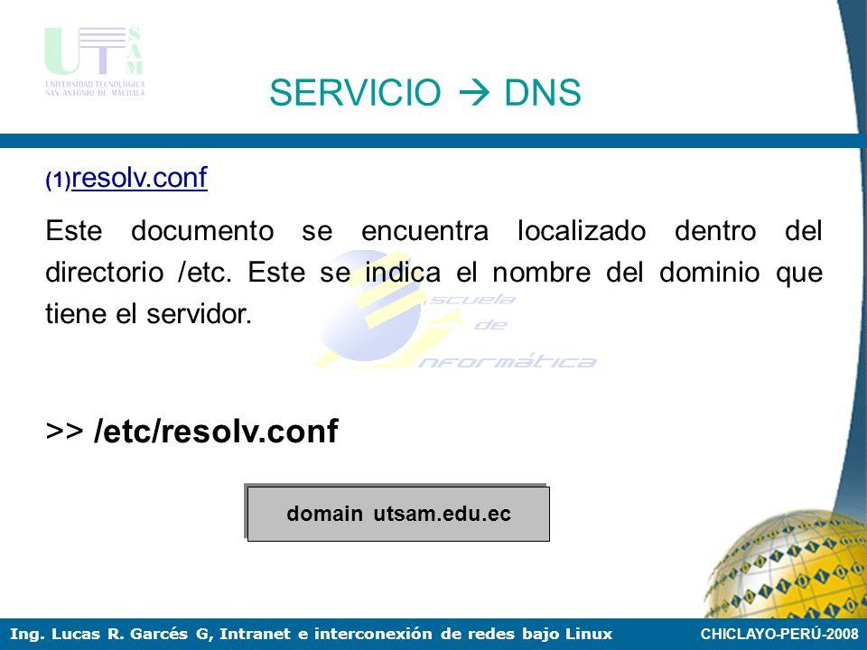 CHICLAYO-PERÚ-2008 Ing. Lucas R. Garcés G, Intranet e interconexión de redes bajo Linux SERVICIO DNS En nuestro ejemplo utilizaremos el siguiente domi