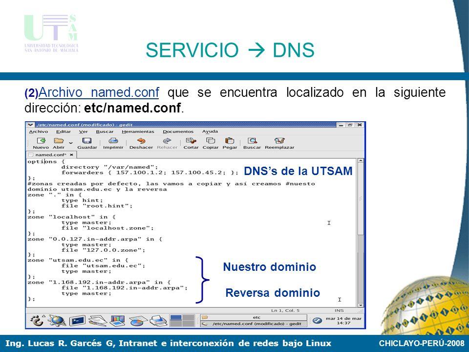 CHICLAYO-PERÚ-2008 Ing. Lucas R. Garcés G, Intranet e interconexión de redes bajo Linux SERVICIO DNS (1) resolv.conf Este documento se encuentra local